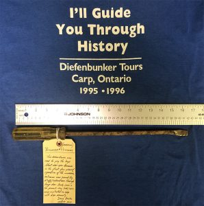 "I'll Guide you Through History, blue tshirt and rusted screw driver 18"" long"