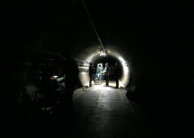 Dark blast tunnel during filming