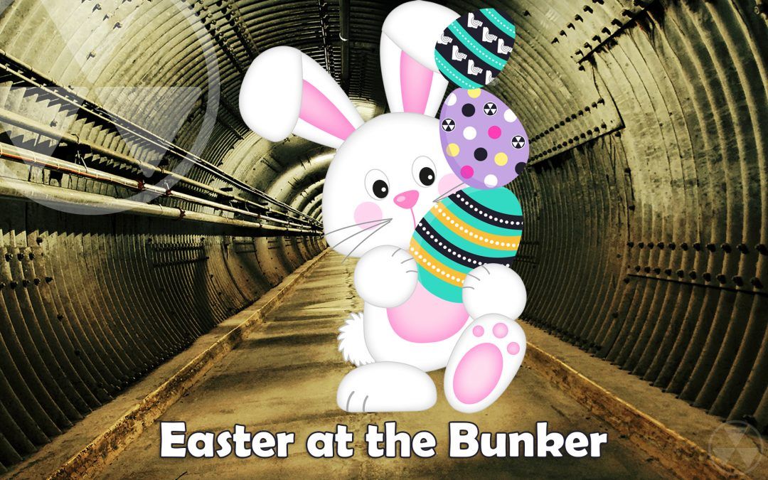 Easter at the Bunker - bunny in blast tunnel holding 3 eggs