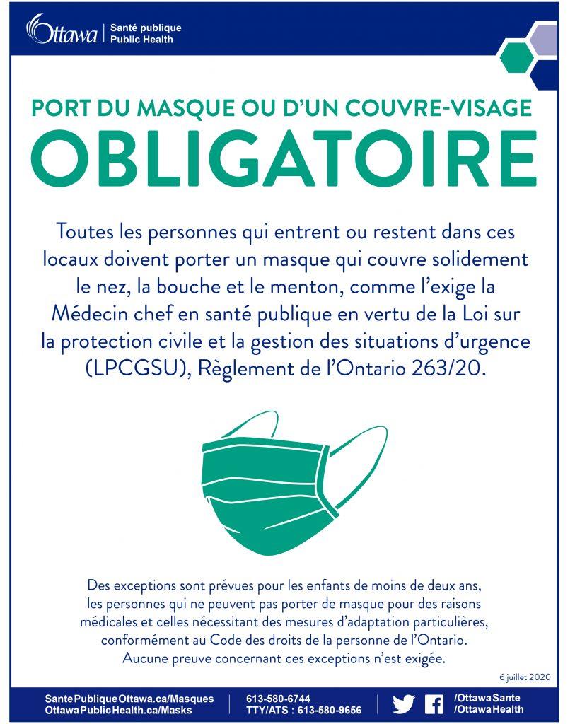 PORT DU MASQUE OU D'UN COUVREVISAGE OBLIGATOIRE